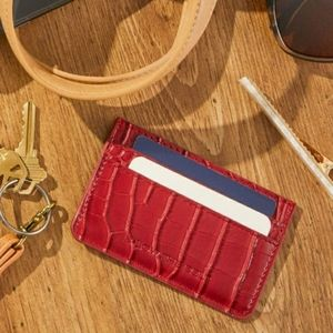 Faux Red CROC Card Carrying Case in Maroon NIP!
